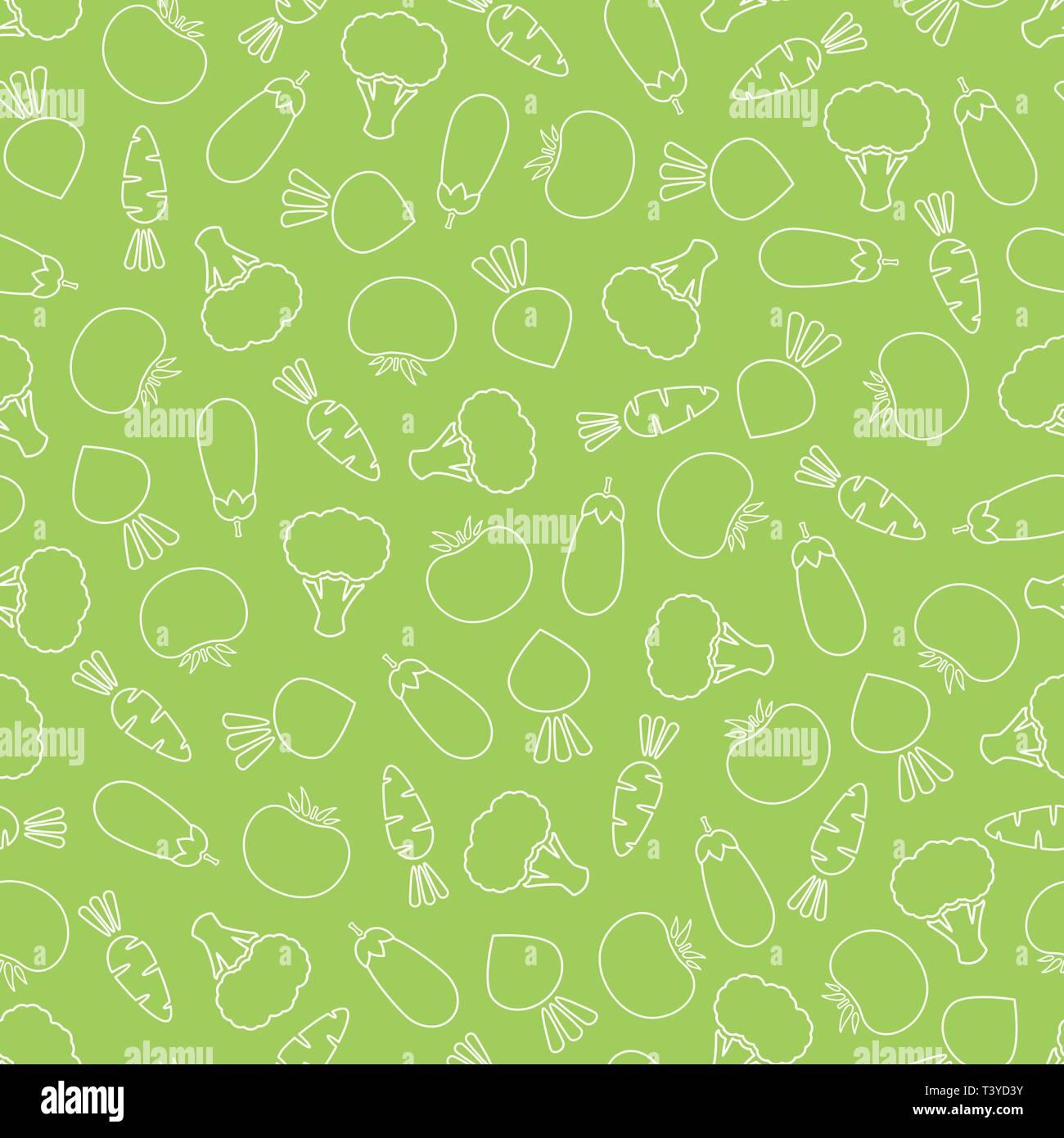 Line Vegetable Seamless Pattern Vector Flat Illustration