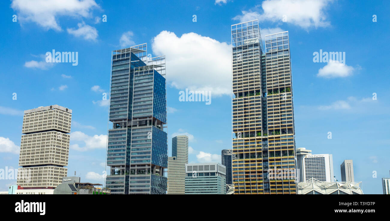Shaw Towers and South Beach And JW Marriott Hotel skyscrapers on Beach Rd Singapore. - Stock Image