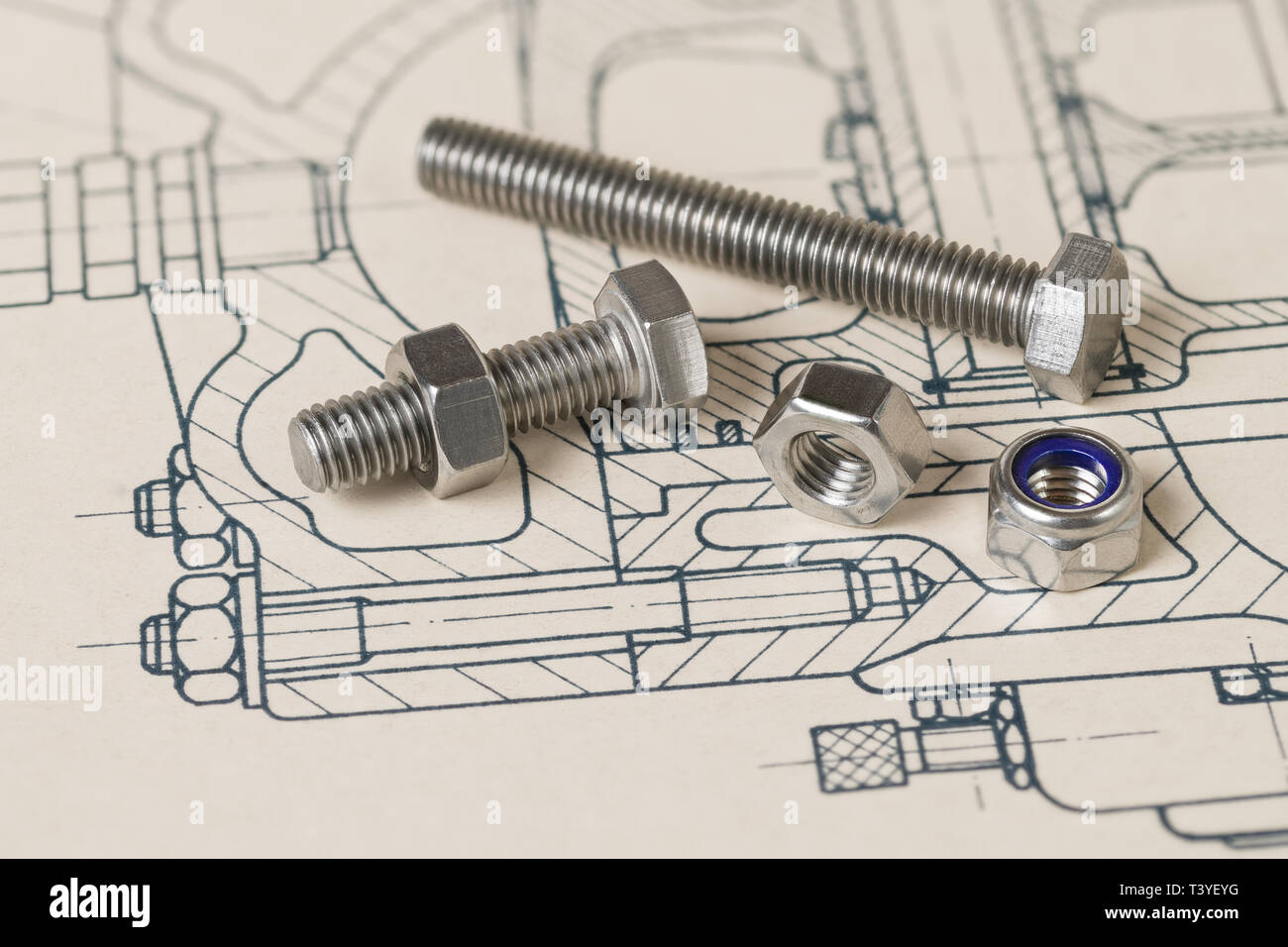 Metal bolts. Nuts group. Hatched drawing. Technical drafting. Steel screws. Threaded parts with hexagonal head. Blue lock washer. Professional project. - Stock Image