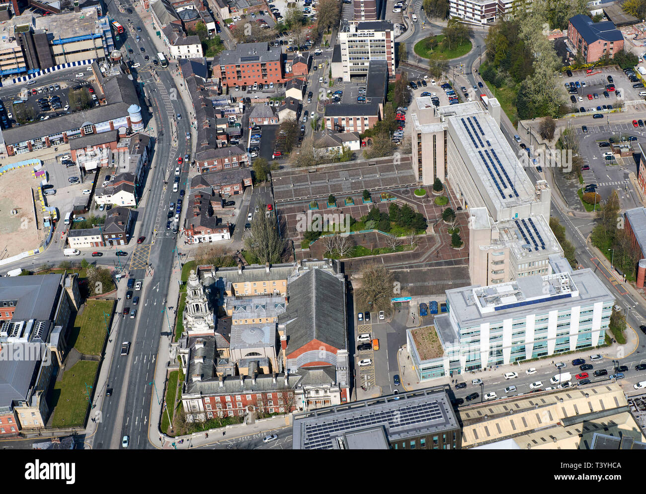 An aerial view of Stockport Civic area, the Town hall and Law Courts, North West England, UK - Stock Image
