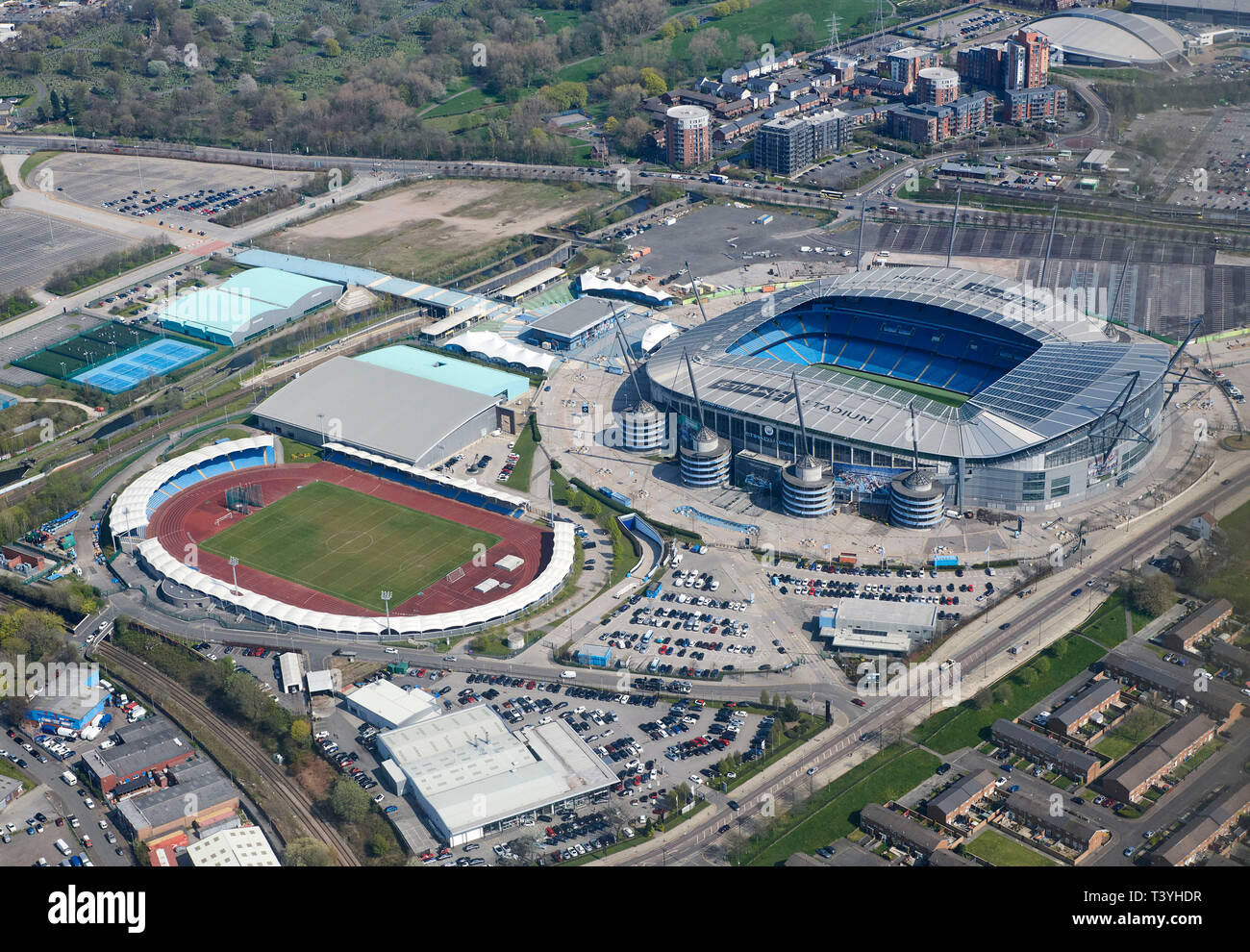 An aerial view of Manchester City Etihad Stadium complex, North West England, UK - Stock Image