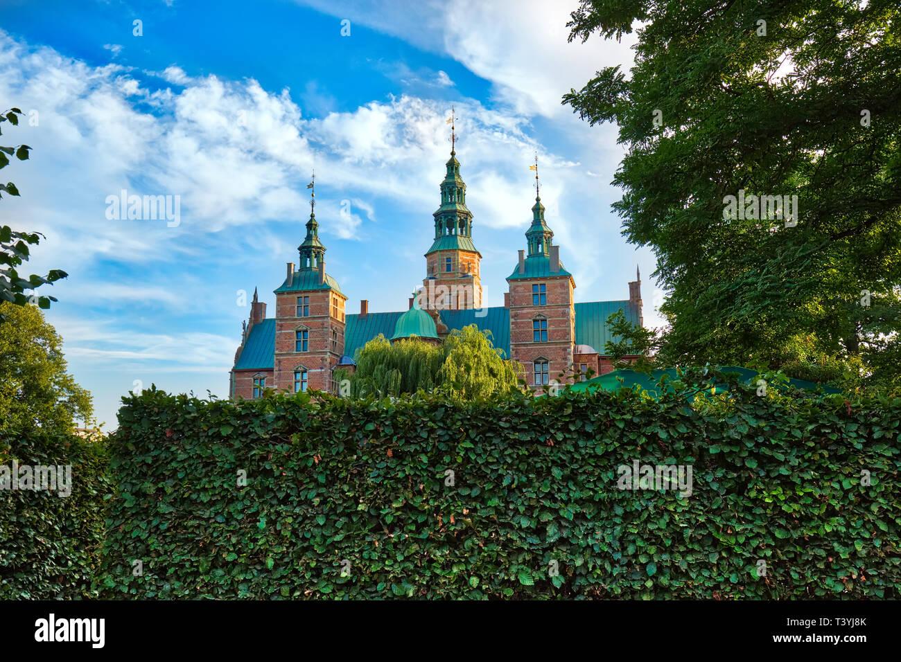Famous Rosenborg castle, one of the most visited castles in Copenhagen - Stock Image