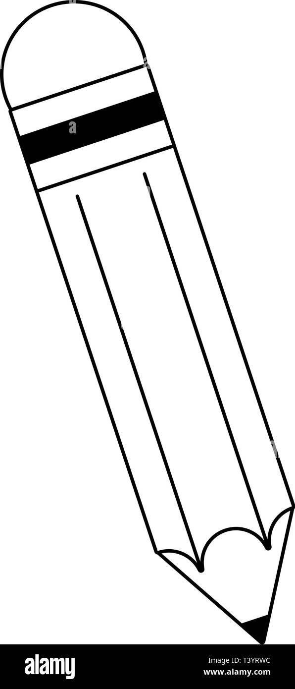 Pencil wooden symbol cartoon black and white stock vector