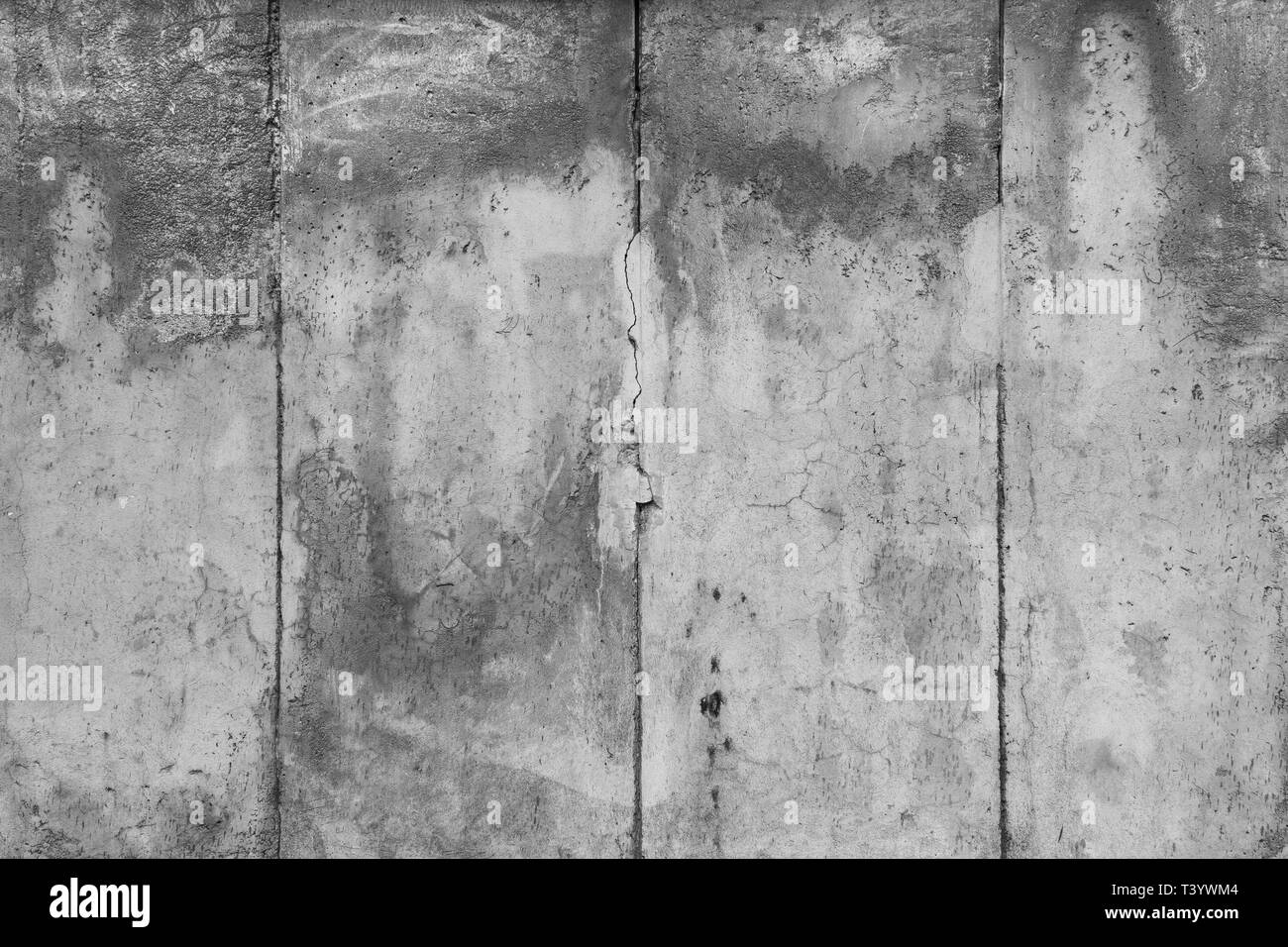 Close Up Of A Weathered And Aged Concrete Wall In Black And