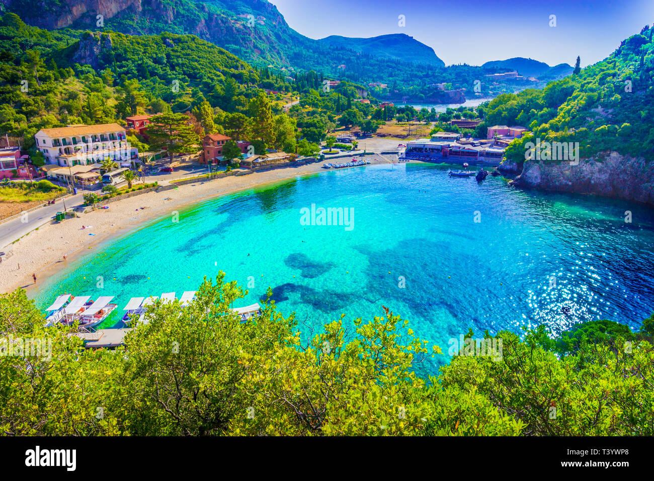 Paleokastritsa beach. Corfu islands, Greece. - Stock Image