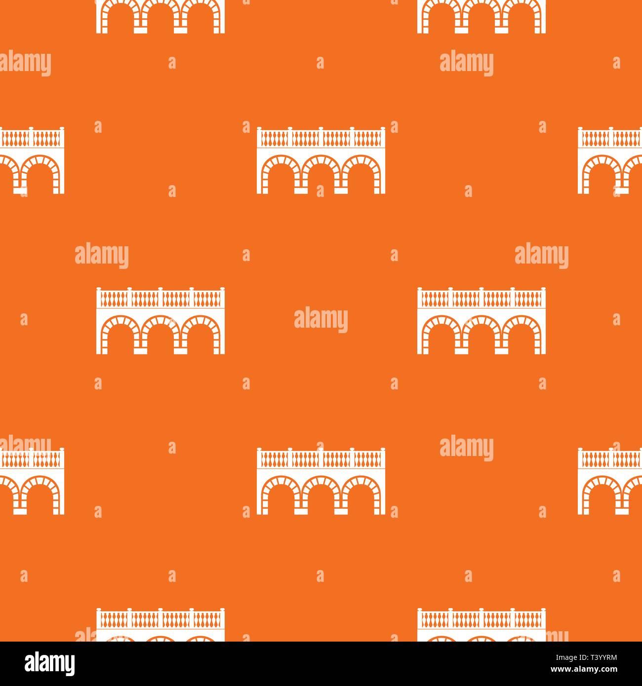 Arch bridge pattern vector orange - Stock Image