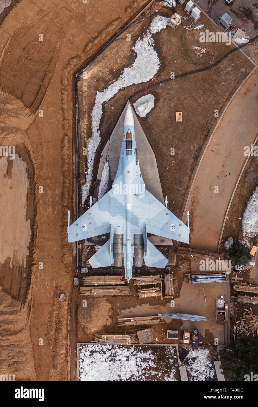 Moscow, April 7, 2019. The Sukhoi Su-27 fighter aircraft stands on a static exposition of the VDNKH. - Stock Image