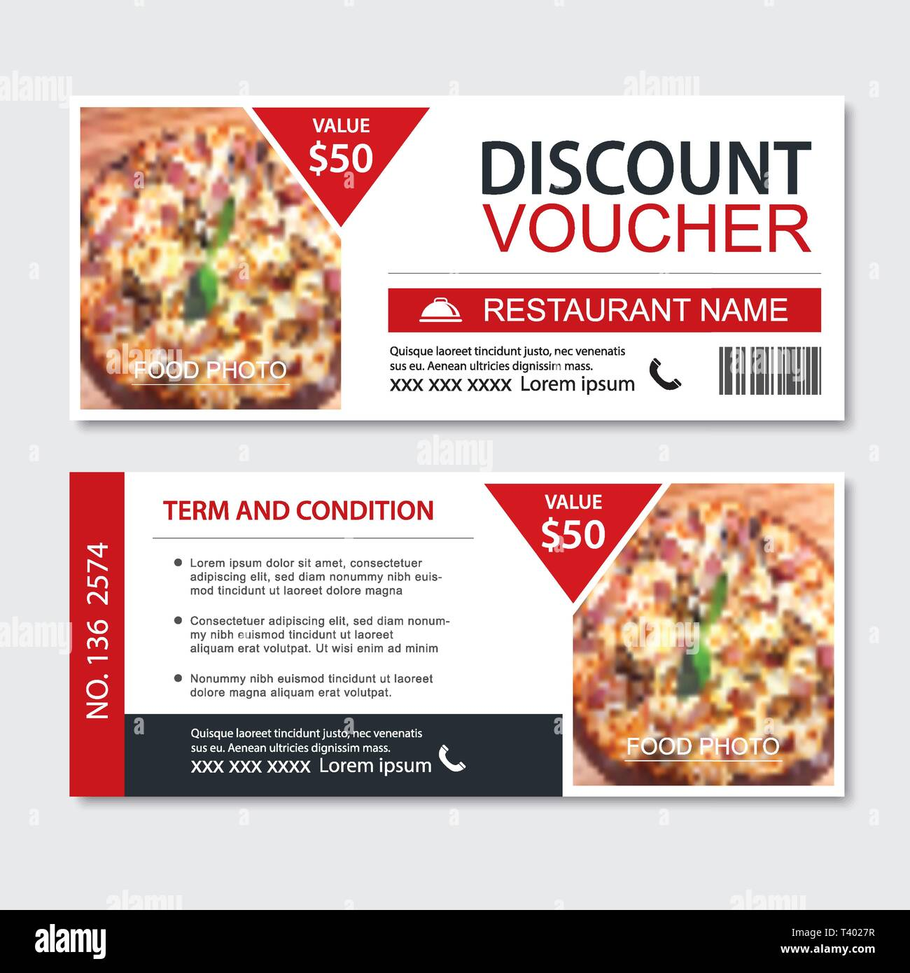 Discount Gift Voucher Fast Food Template Design Pizza Set Use For Coupon Banner Flyer Sale Promotion Stock Vector Image Art Alamy