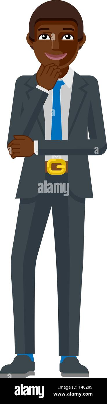 Black Business Man Thinking Mascot Concept - Stock Image