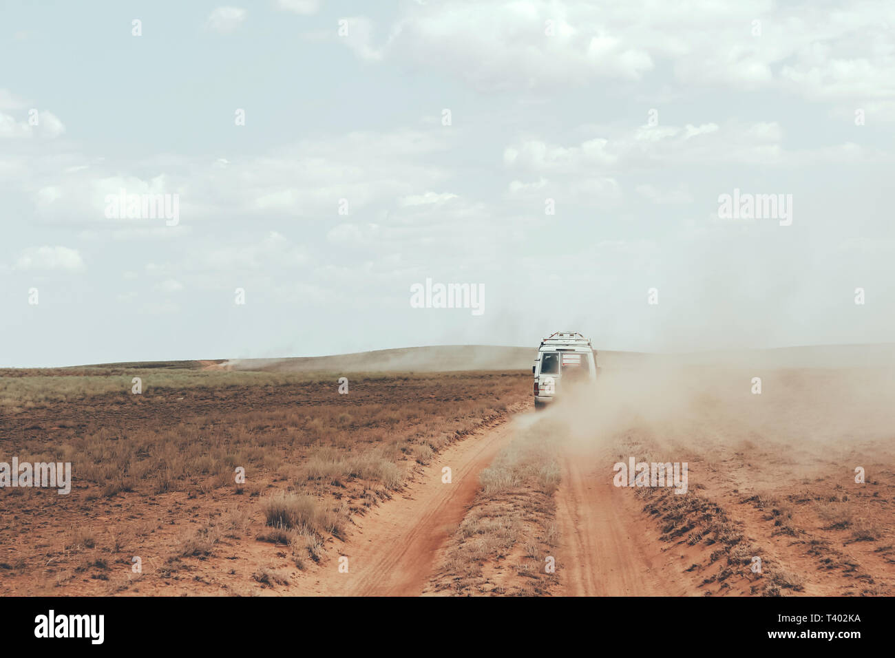 Desert Car Travel, Modern Lifestyle, Passion for Travel, drive in Search of Adventure and Risk - Stock Image