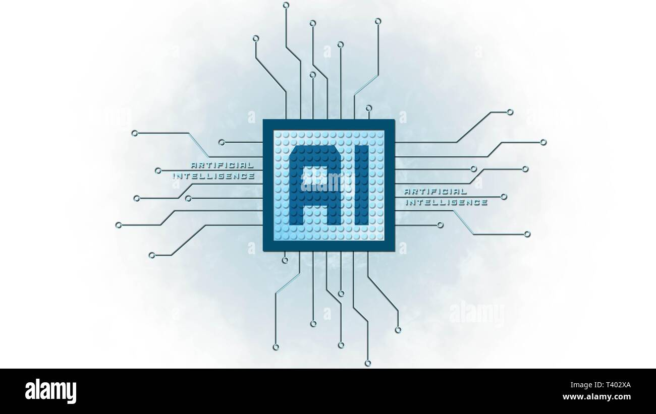 AI - Artificial intelligence background - Abstract concept of cyber technology and automation - 3D illustration Stock Photo