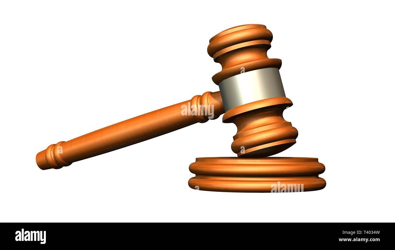Judge gavel of wood - isolated on white background - Stock Image