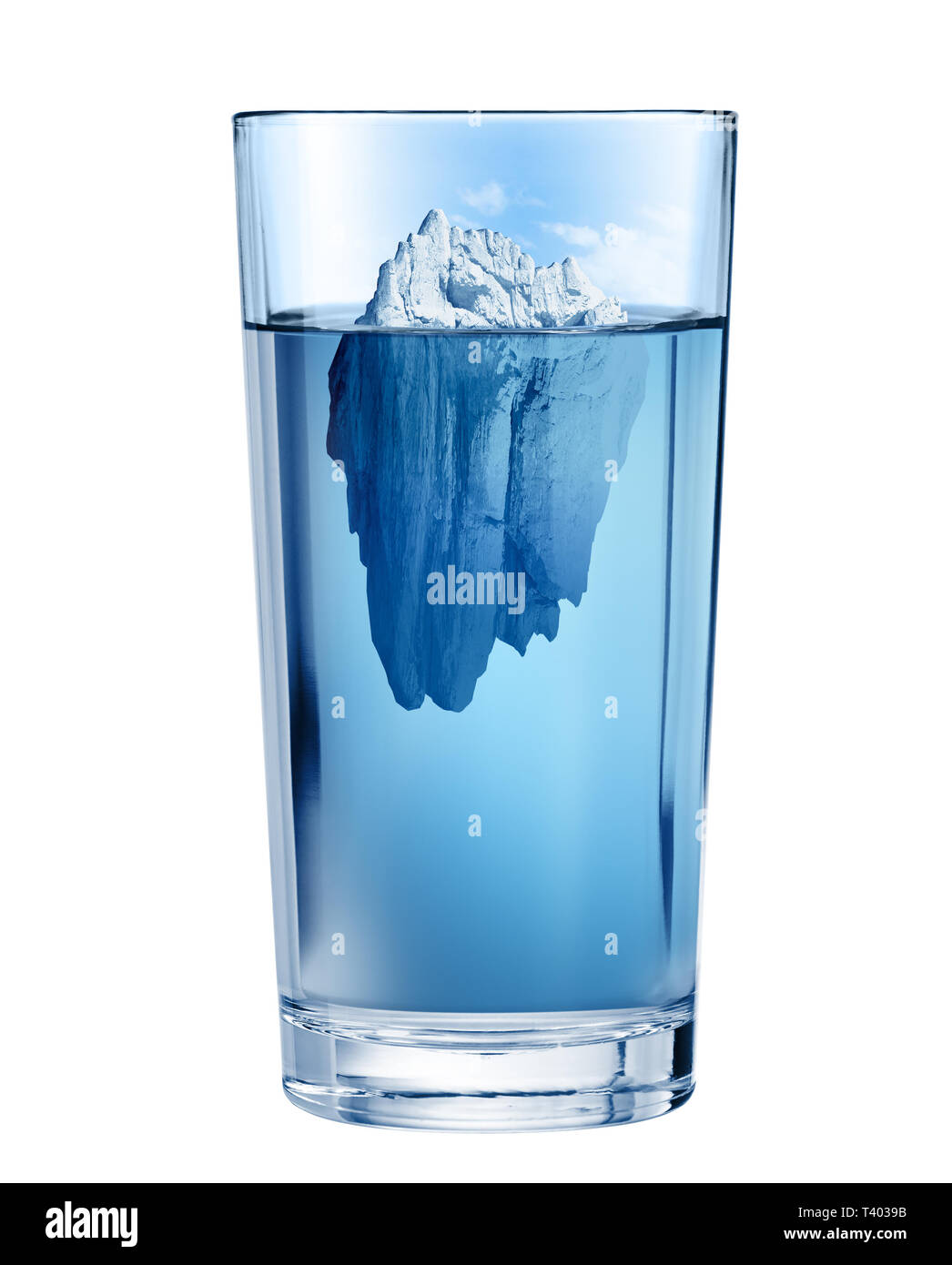 Iceberg in glass. Fresh water depletion environment concept. Isolated with clipping path included. - Stock Image