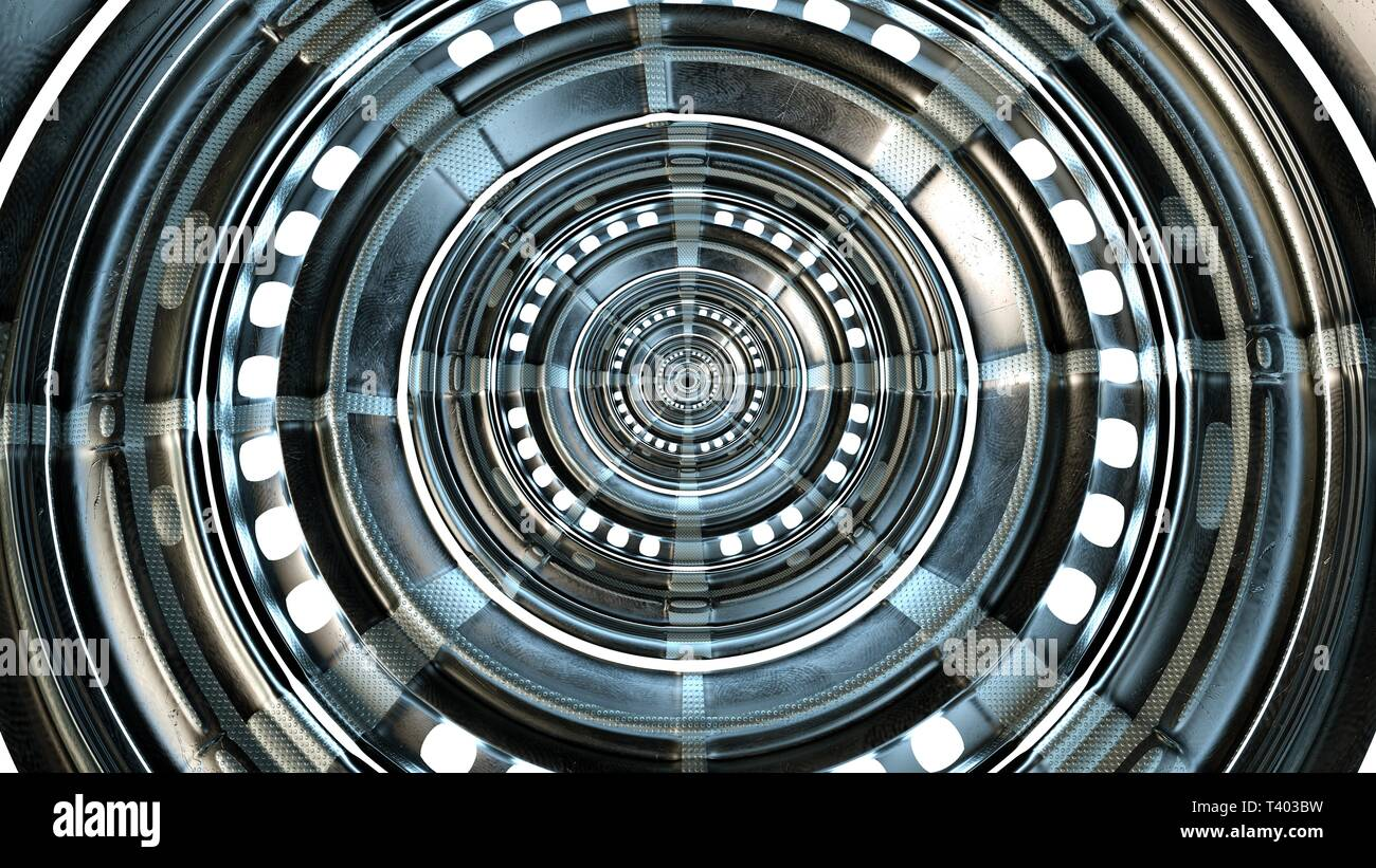 Abstract circle technical and futuristic shape. High quality circle technological and futuristic gate. 3d rendering. Stock Photo