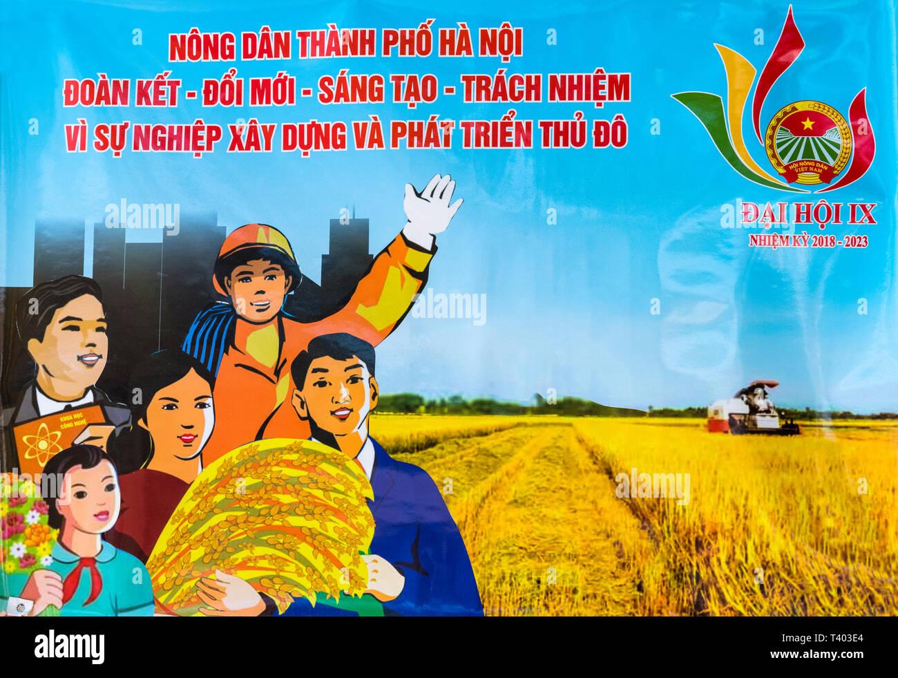 A communist propaganda poster, Hanoi, Vietnam - Stock Image