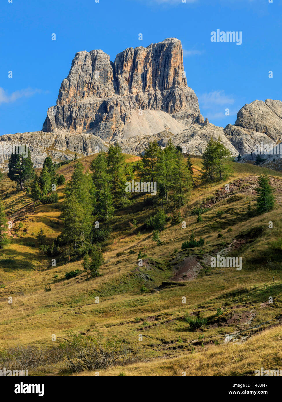 A view of Mount Averau, a peak in the Dolomiti d'Ampezzo mountain range. Taken from the prairies of Falzarego Pass, a high altitude road pass linking  - Stock Image