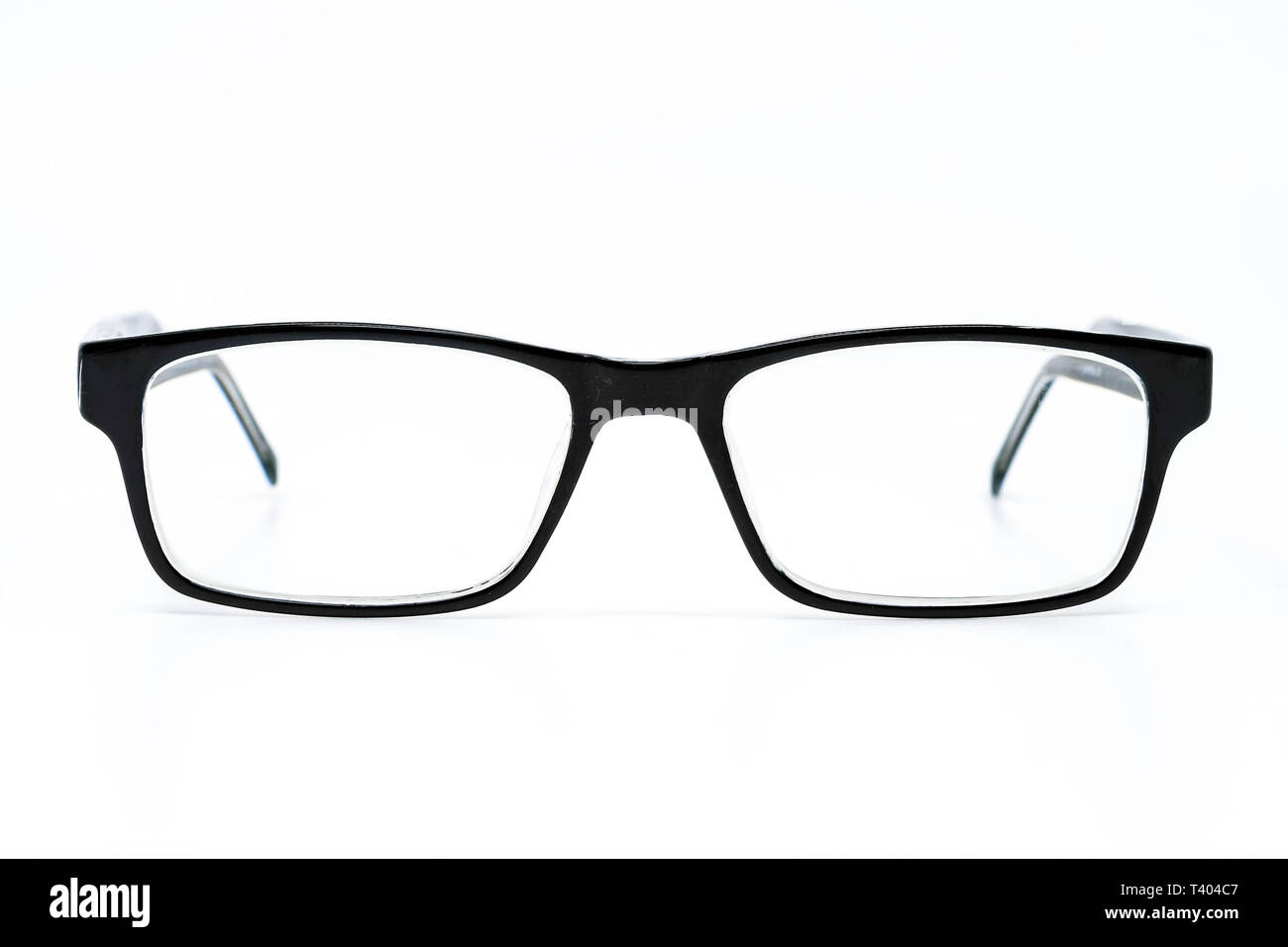 0fbb78e30c21 Pair of black glasses with lenses isolated against a plain white background  - Stock Image