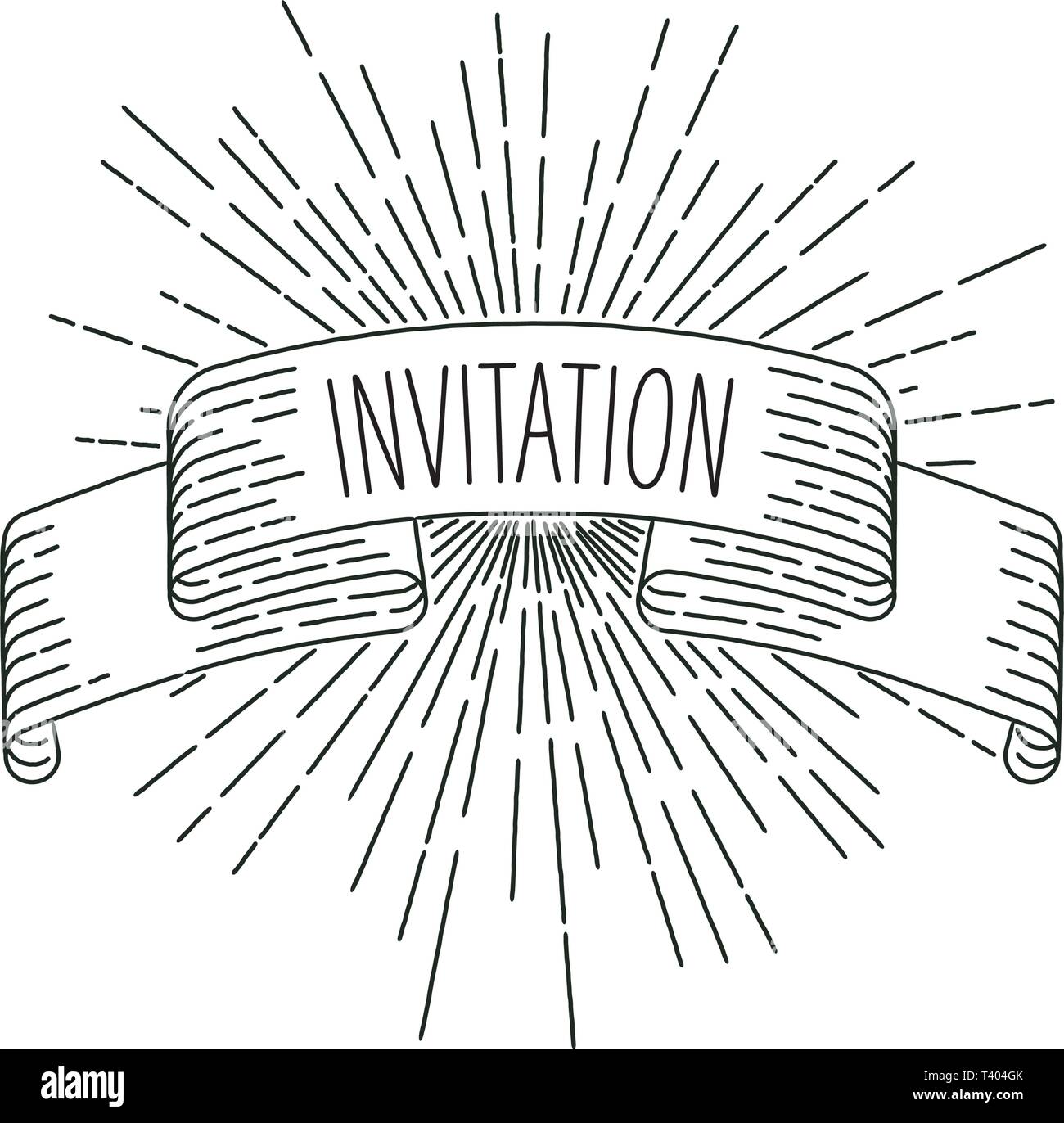 Invitation banner. Ribbon banner greeting card in vintage look with word invitation, engraving style graphic. Retro design element. Vector Illustratio - Stock Image