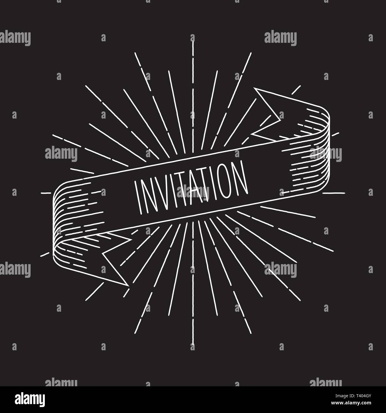 Invitation banner. Ribbon banner design element in vintage look with word invitation, engraving style graphic. Retro  Vector Illustration. - Stock Image