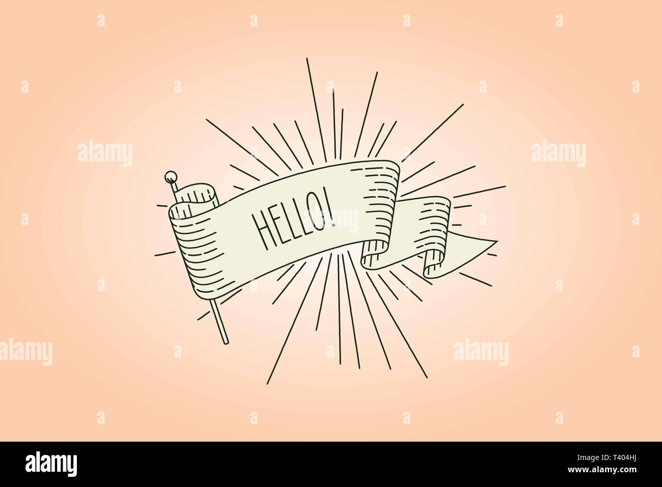 hello welocoming banner flag. Ribbon flag greeting card in vintage look with word hello, engraving style graphic. Retro design element. Vector Illustr - Stock Image