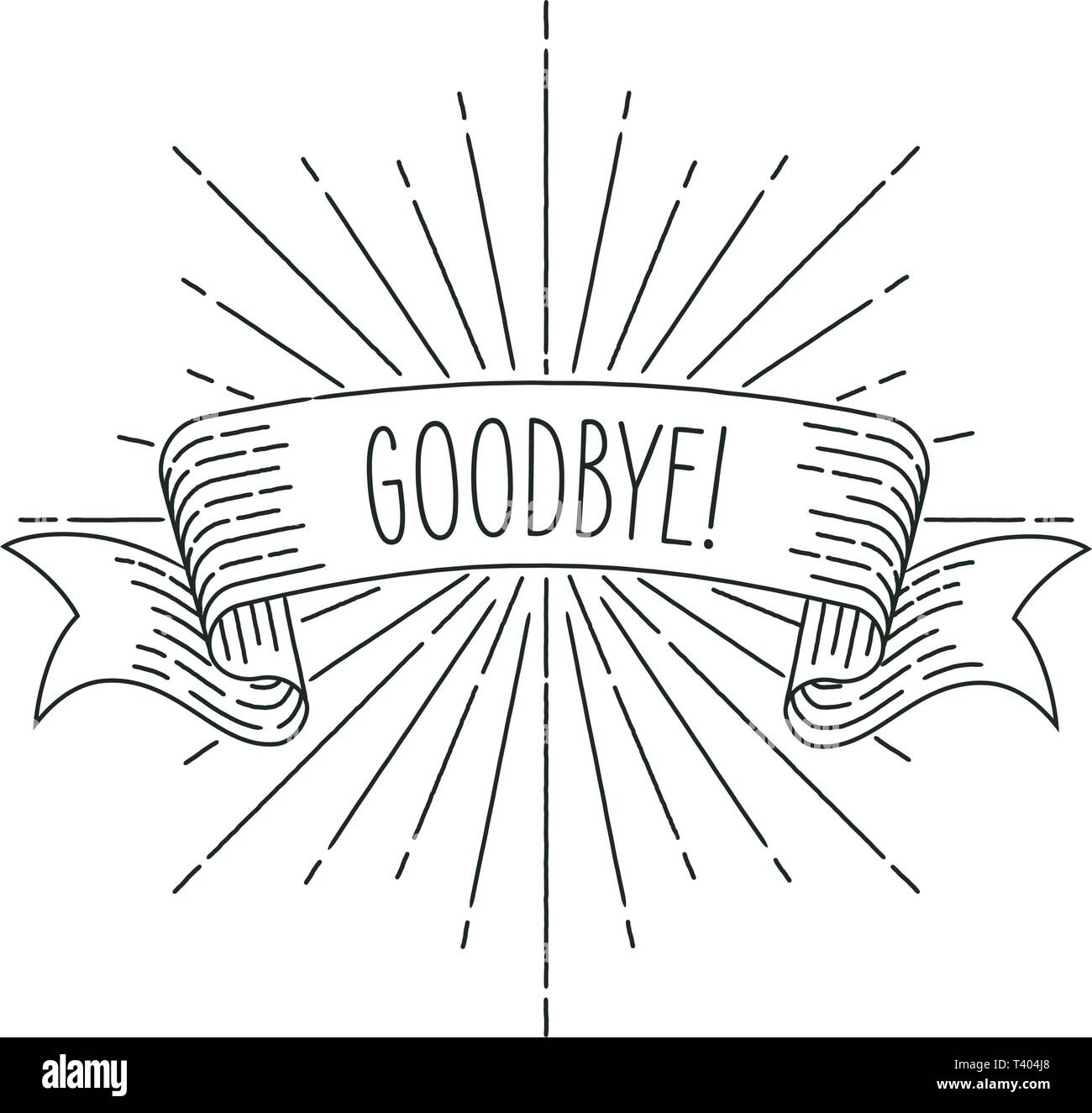 Farewell banner. Ribbon banner greeting card in vintage look with word goodbye, engraving style graphic. Retro design element. Vector Illustration. - Stock Image