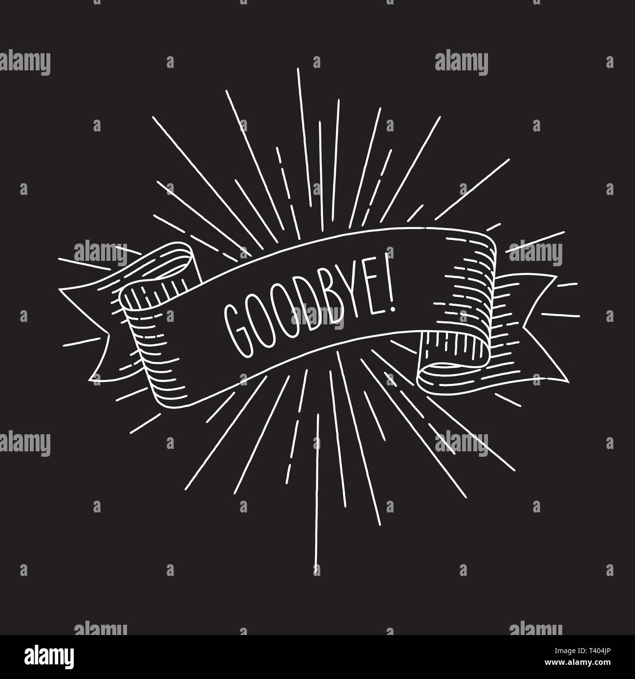 Goodbye banner. Ribbon banner design element in vintage look with word goodbye, engraving style graphic. Retro Vector Illustration. - Stock Image