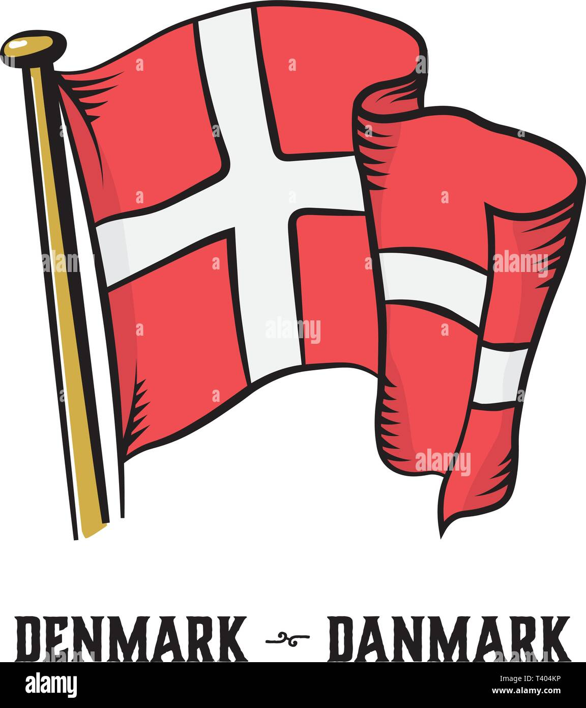 Vintage engraving style Denmark flag vector illustration - Stock Image
