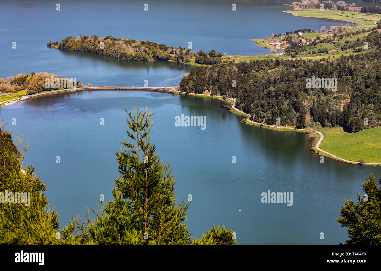 A view of Sete Cidades lake in the Azores Stock Photo