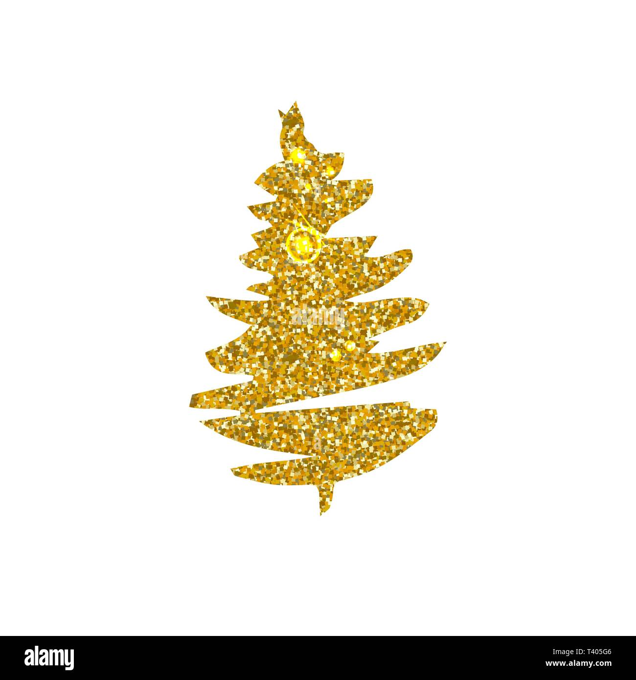 Christmas Tree Clipart Silhouette.Christmas Tree Golden Glitter Vector Silhouette Glowing