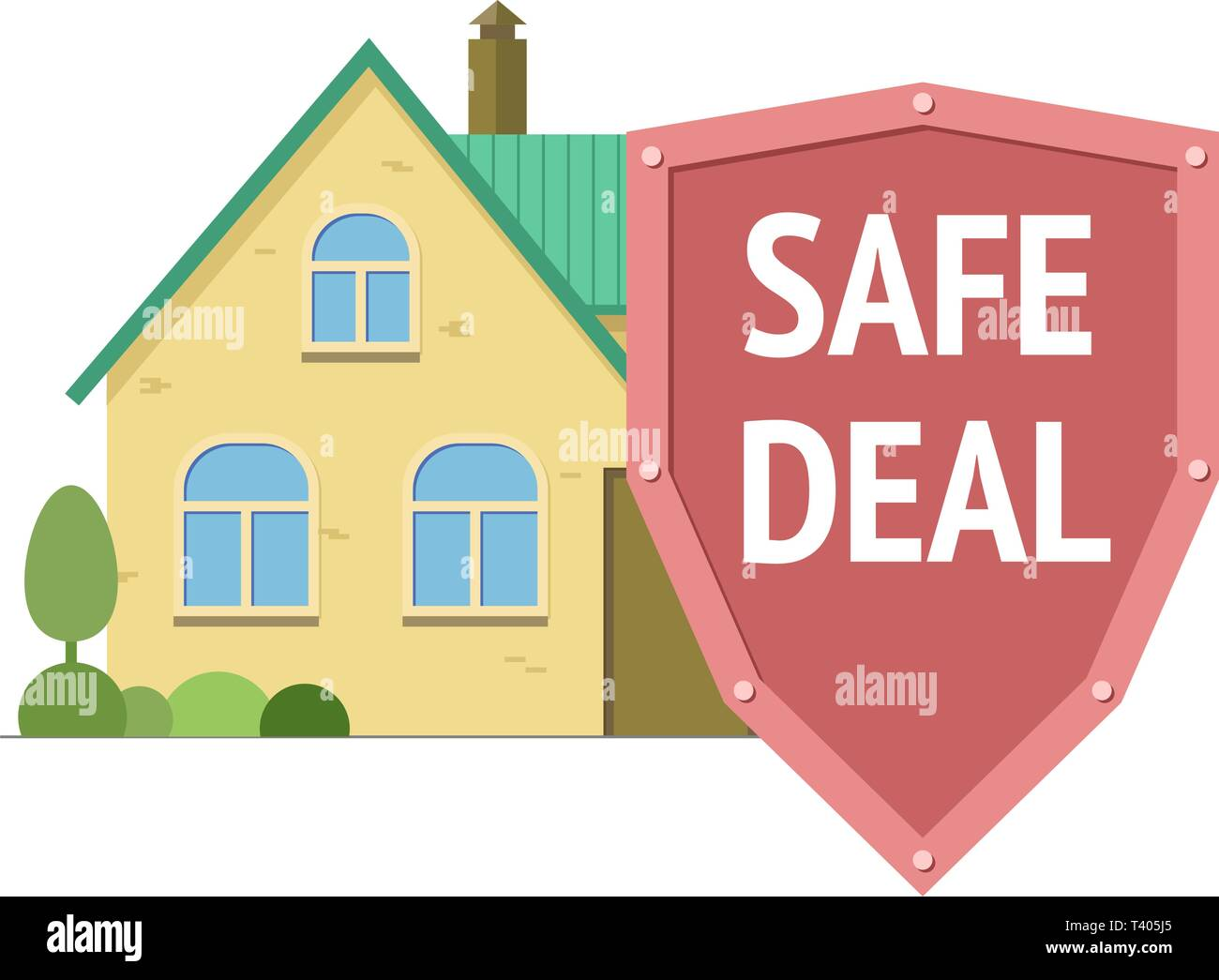 House with shield with safe deal words. Secure real estate transaction. Vector isolated illustration - Stock Image