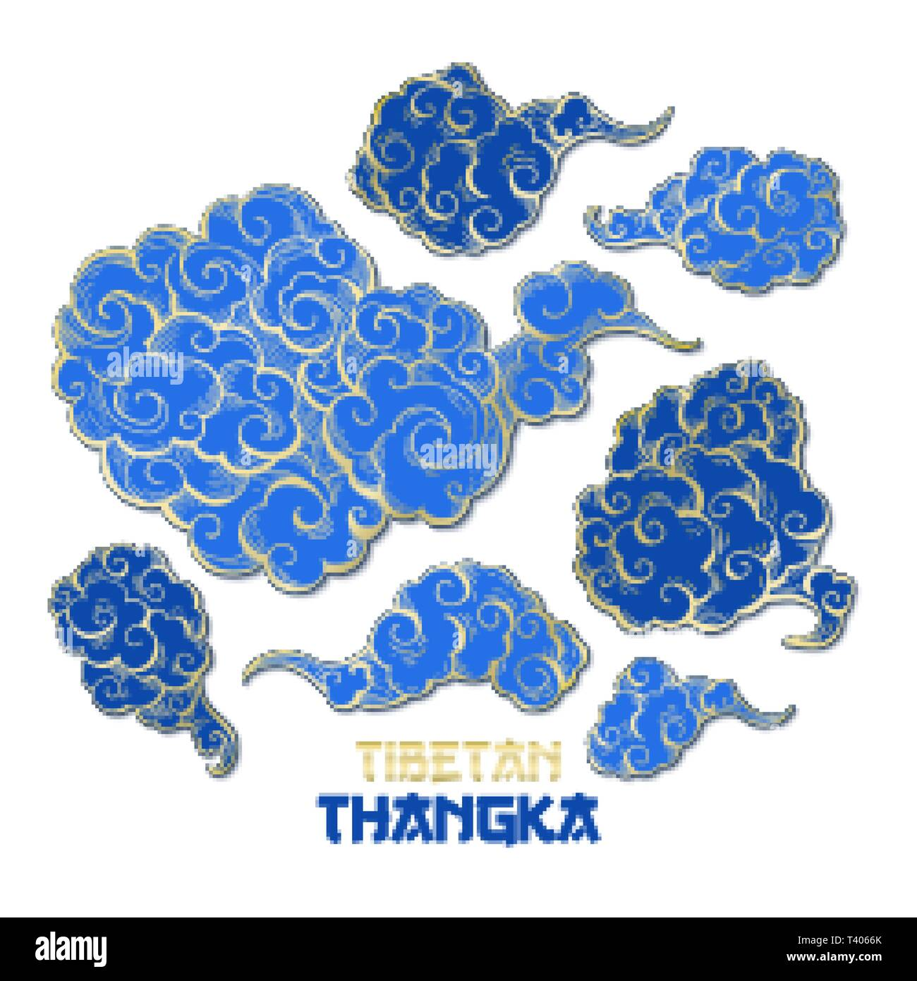 Chinese or Tibetian Golden Outline and Blue Vector Clouds Collection. Asian Oriental Artistic Tangka Illustration. Paper Art Style - Stock Image
