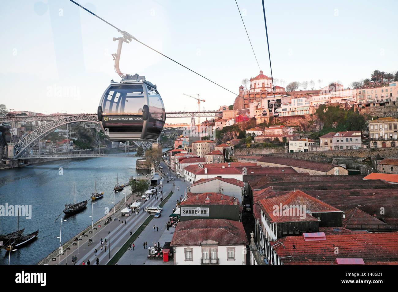 Aerial view of Monastery da Serra do Pilar from Teleférico Vila Nova de Gaia cable car on the River Douro in Porto, Portugal Europe EU  KATHY DEWITT Stock Photo