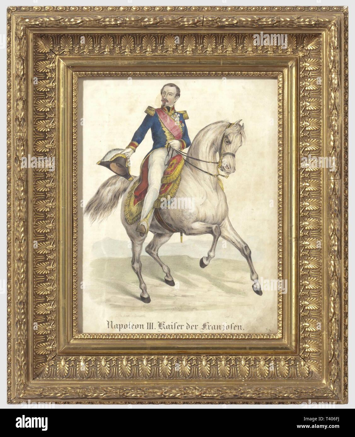 """SECONDE REPUBLIQUE ET SECOND EMPIRE 1848-1870, Lithographie en couleur, représentant l'Empereur Napoléon III à cheval, Sujet allemand, signé du graveur """"Lith. Anst. v. Donath."""" (en bas à gauche, """"Lief. 1."""" à droite), traité en couleur et titré en lettres gothiques """"Napoléon III Kaiser der Franzosen"""". Les représentations de l'Empereur Napoléon III, exécutées en Allemagne restent relativement rares. Ensemble en bon état, quelques traces de mouillures, présenté sous verre, dans un cadre actuel, en bois mouluré et doré. Hauteur 36,7 cm, largeur 31,5 cm, Artist's Copyright has not to be cleared Stock Photo"""