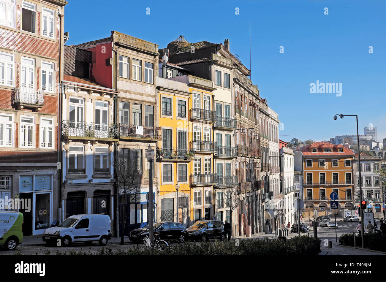 Porto houses homes property buildings architecture facade front of row of apartment buildings on street in Oporto Portugal Europe   KATHY DEWITT - Stock Image