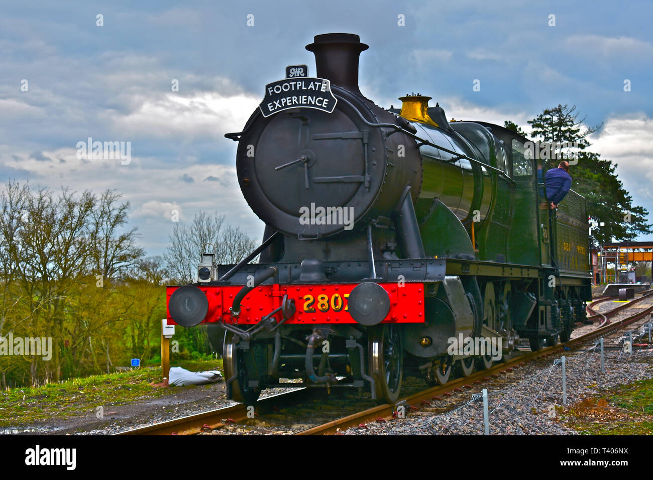 The Gloucester Warwickshire Steam Railway.Engine 2807(a 28xx' class heavy freight locomotive,blt1905) is a  2-8-0 engine,here used for a footplate day Stock Photo