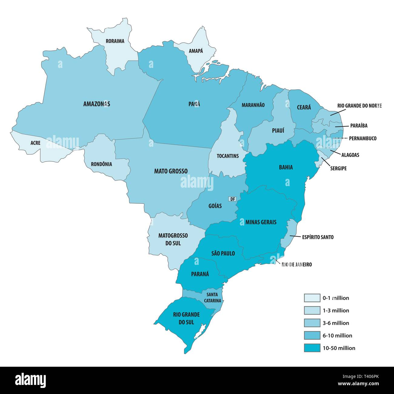 Vector population map of the Federative Republic of Brazil - Stock Image