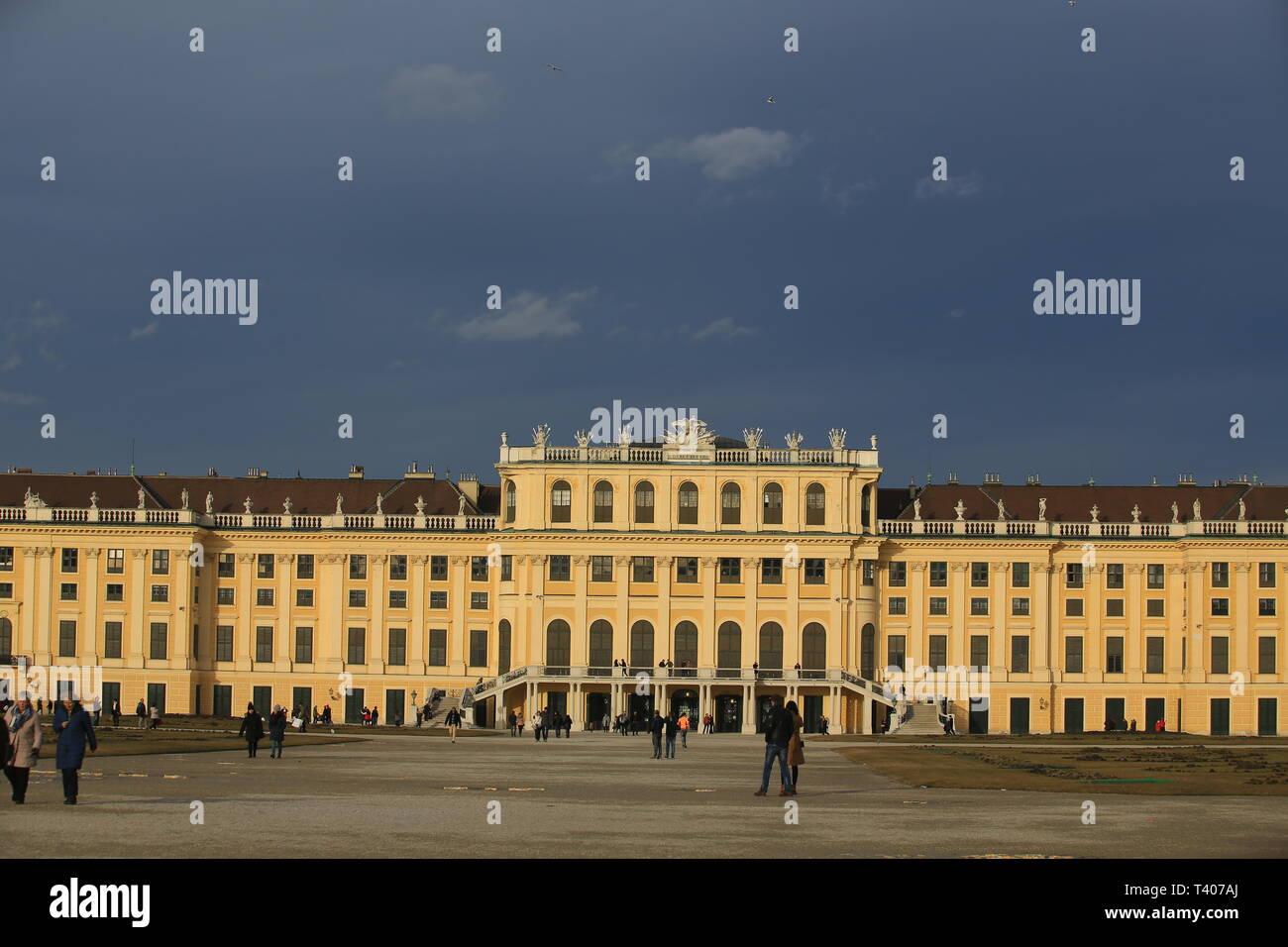 Schonbrunn Palace was the main summer residence of the Habsburg rulers, located in Hietzing - Stock Image