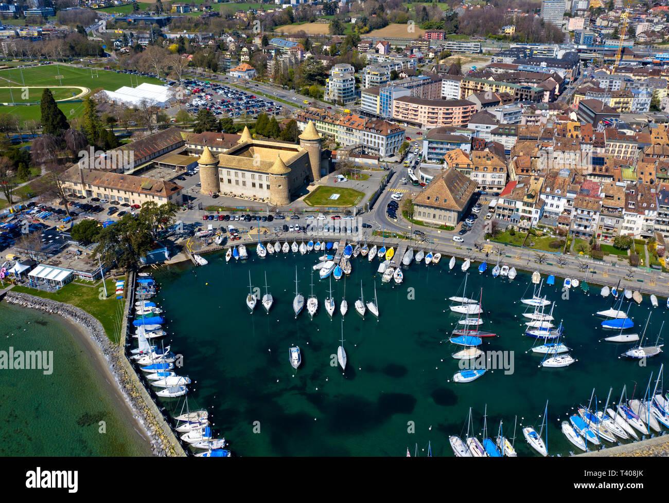 Morges Castle and marina at Lake Geneva, aerial shot, Morges, Vaud, Switzerland - Stock Image