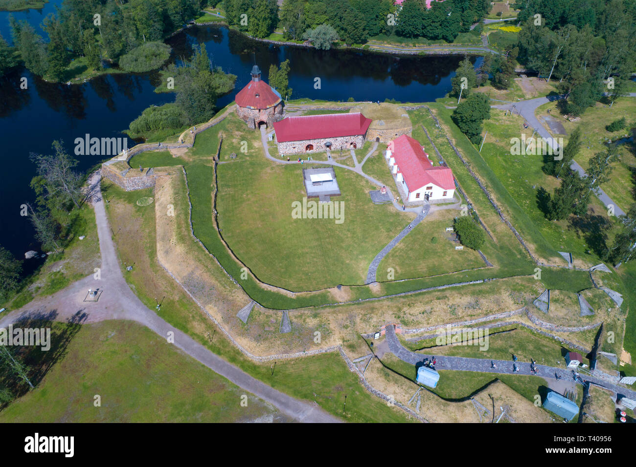 View of the Korela fortress on a sunny June afternoon (aerial photography). Priozersk, Russia - Stock Image