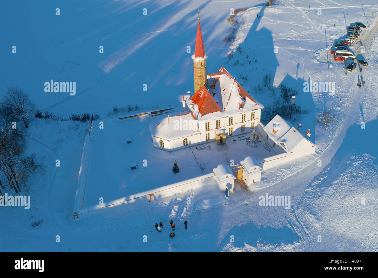 View from above of the Priory Palace on the January afternoon (aerial photography). Gatchina, Russia - Stock Image