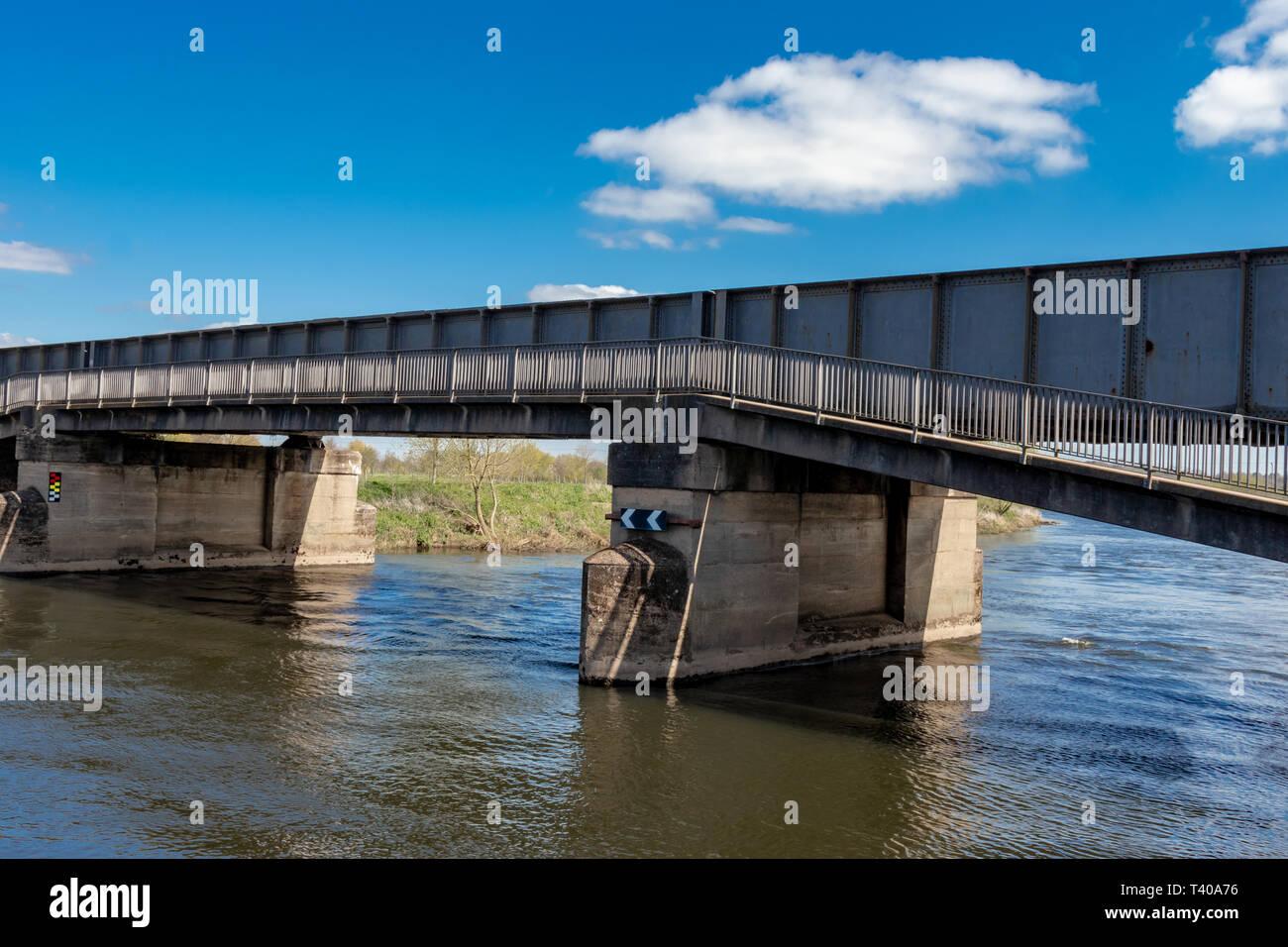 Trent and Mersey Canal ,Lock Gates and Railway Bridge near to Sawley Marina,Nottinghamshire England - Stock Image