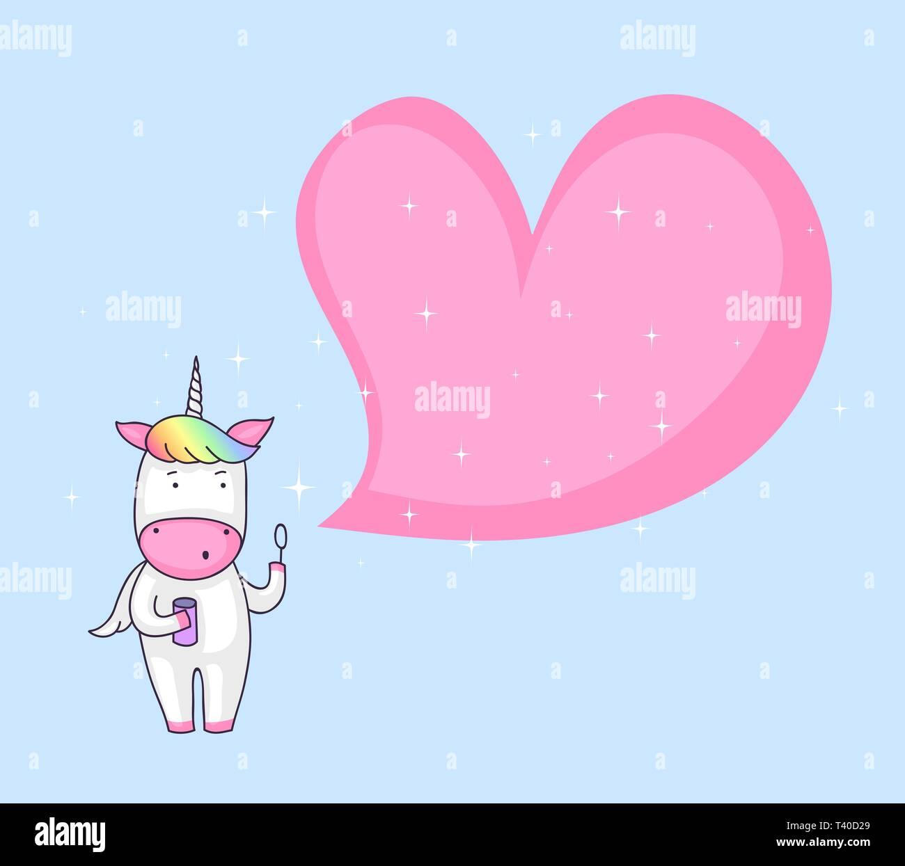 Cute cartoon of a unicorn blowing a heart shaped soap bubble - Stock Vector
