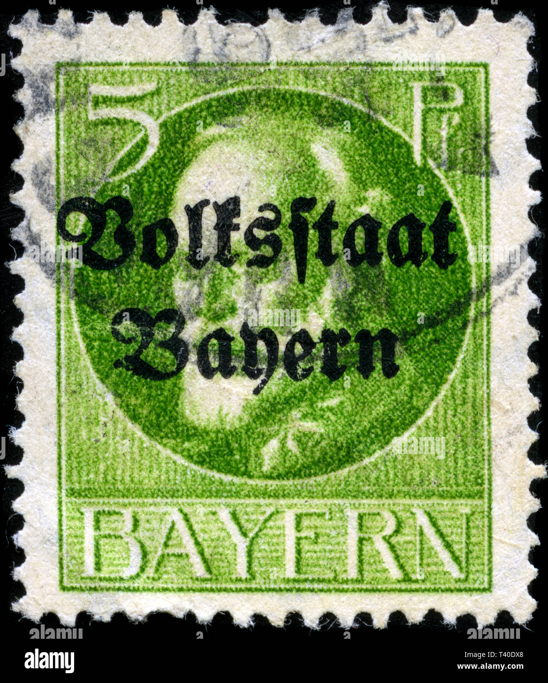 Postage stamp from the German States in the Bavaria series issued in 1919 Stock Photo