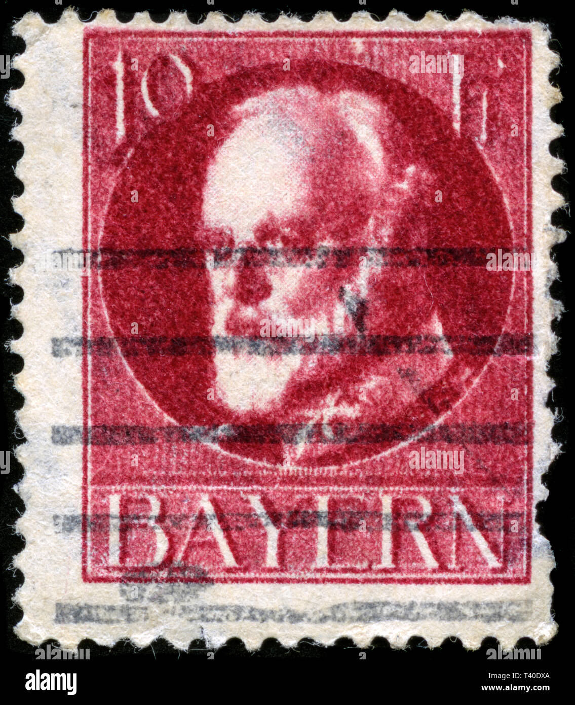 Postage stamp from the German States in the Bavaria series issued in 1914 - Stock Image
