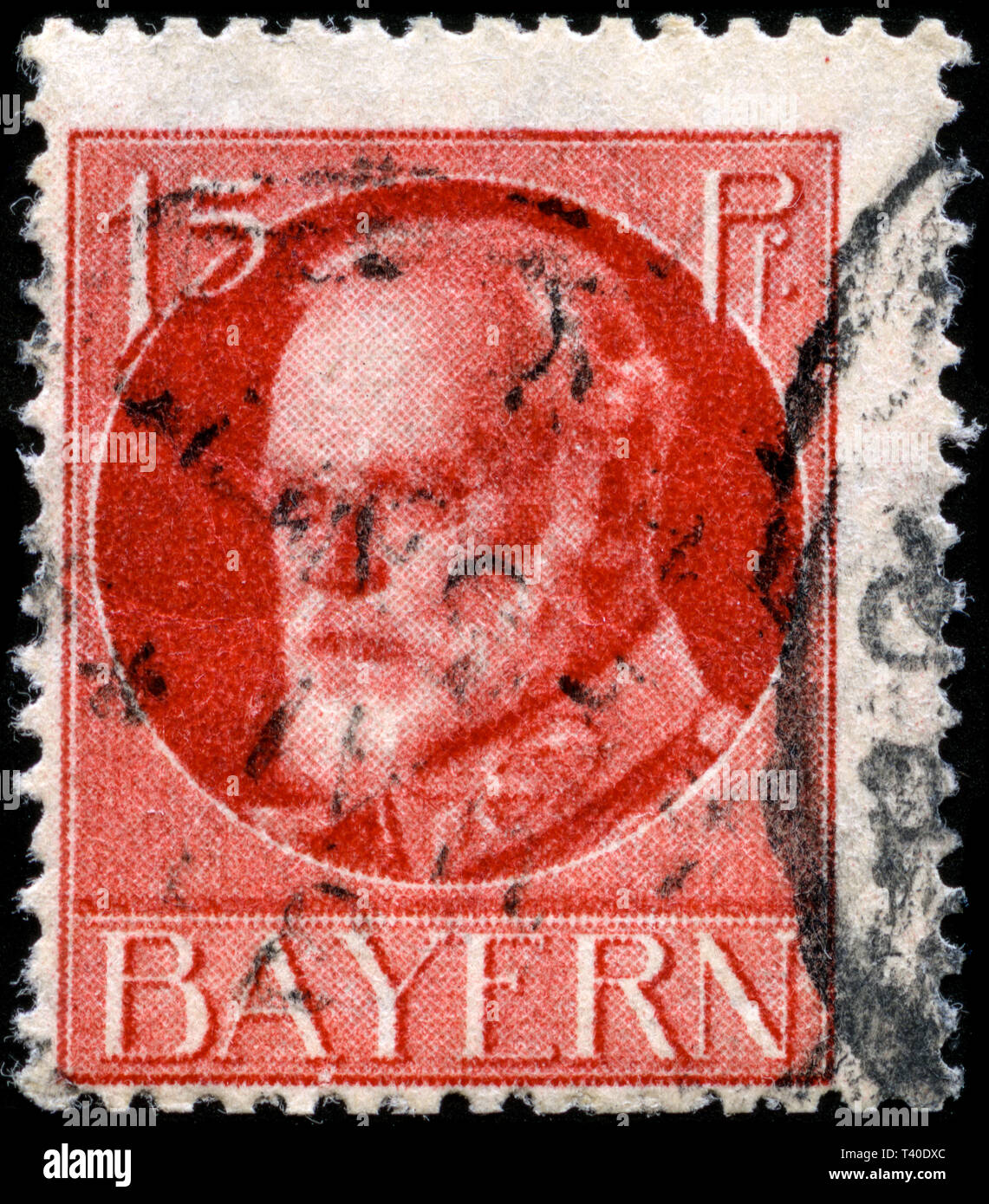 Postage stamp from the German States in the Bavaria series issued in 1916 - Stock Image