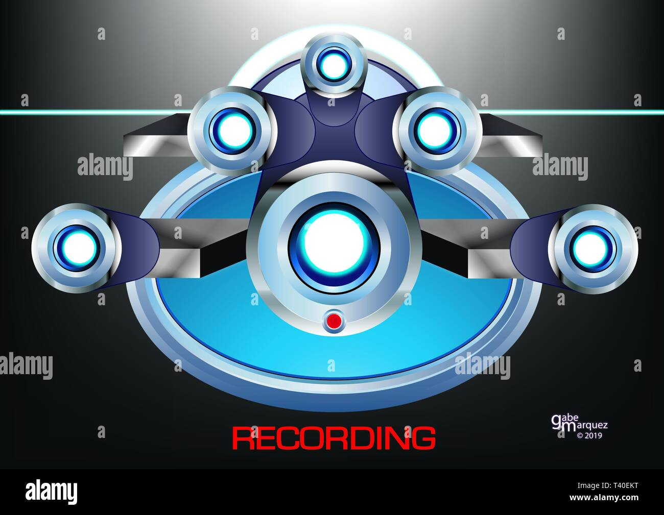 Artwork Created By Gabe Marquez (A.K.A- Gabriel Marquez Jr.) Title Of Artwork: 'An illustration of a futuristic surveillance camera' Visual Elements W - Stock Image