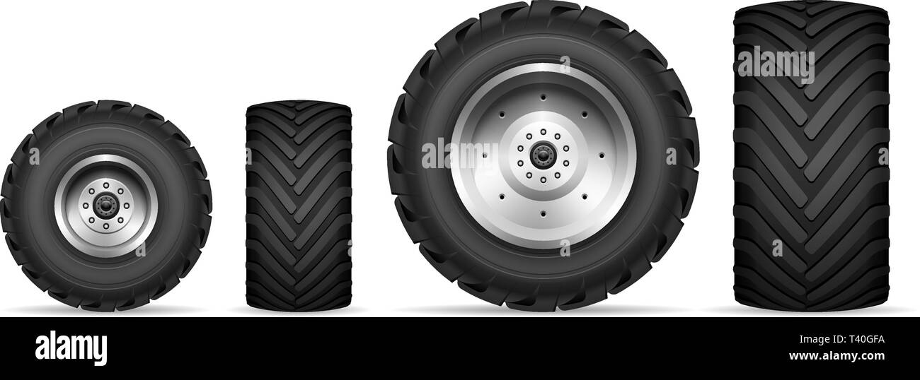Truck and tractor wheels isolated on white background - Stock Vector