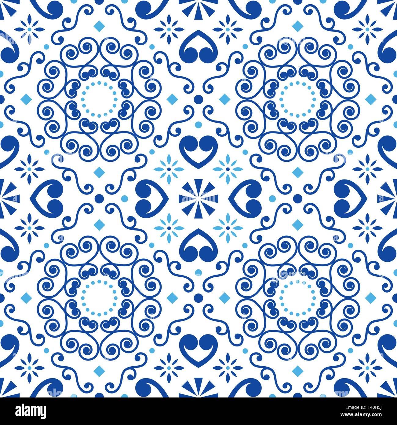 Portuguese or Spanish retro tile Azulejos vector seamless pattern, geometric repetitve design - textile or wallpaper background - Stock Vector