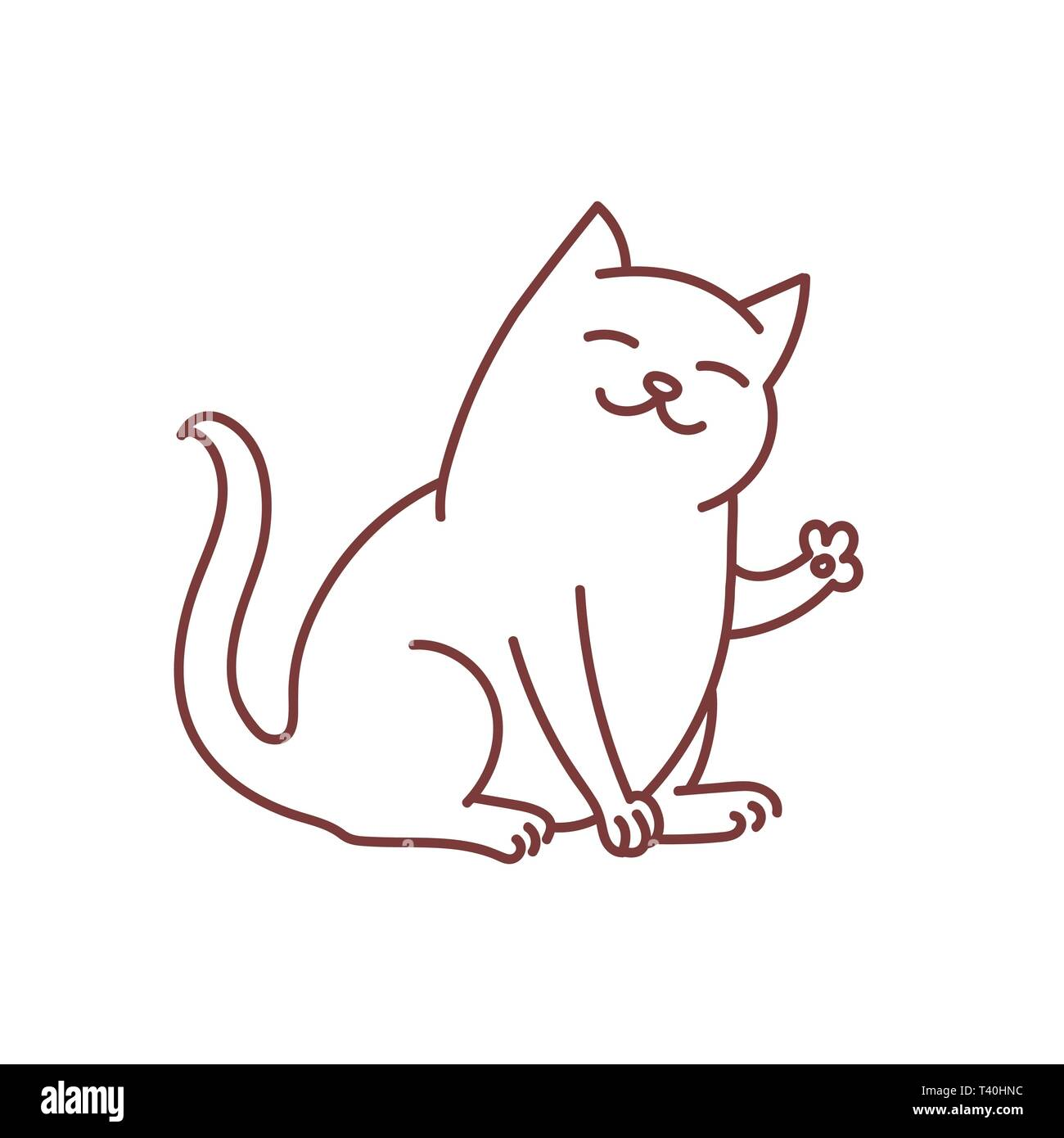 Friendly kitty waves paw and says hello greeting, doodle of cat cute and good kitten linear art oultine isolated on white - Stock Image