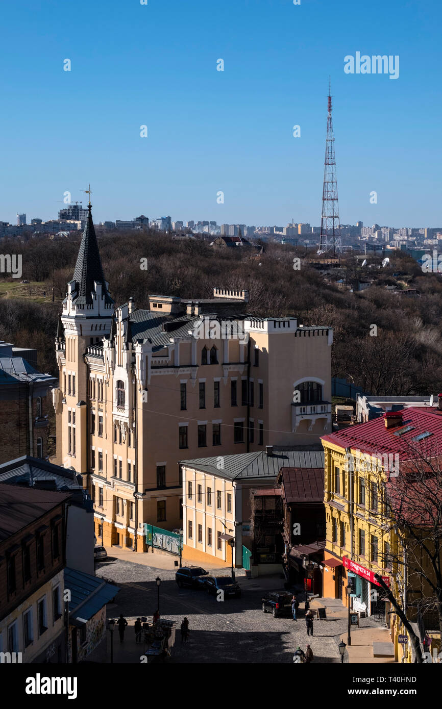 Kiev Castle of Richard Lionheart (Orlov House) Andriyivskyy Descent - Stock Image